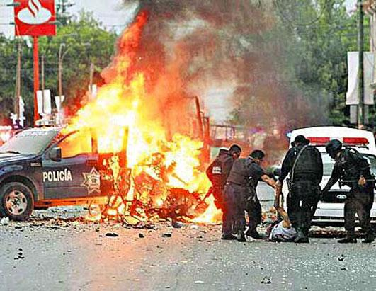 Cartel's detonation of car bomb in Ciudad Juarez less than one mile from U.S. border fans concern over spillover violence (DHS)