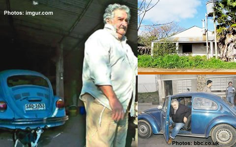 Jose Mujica: The world's 'poorest' president • Donates 90% salary to poor • Shuns presidential mansion • Rides 1987 Volkswagen – click on image to see article about him