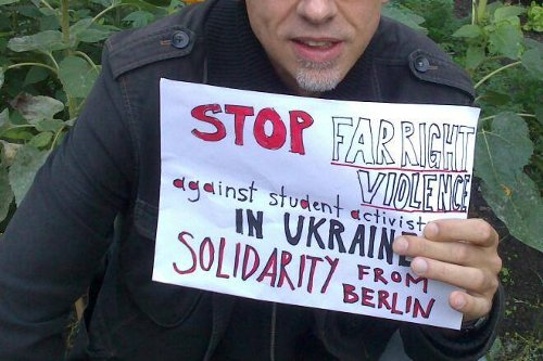 "In Munich Ukrainian and German antifascists also protested against the far right violence in Ukraine and expressed their solidarity with student union ""Direct Action"" whose members turned out to be the main targets of far right street terror."