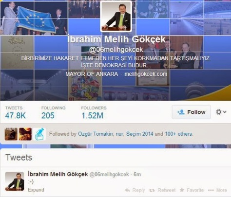 A few hours after the Twitter ban took effect, the AKP mayor of Ankara tweets a smile face ot the world.