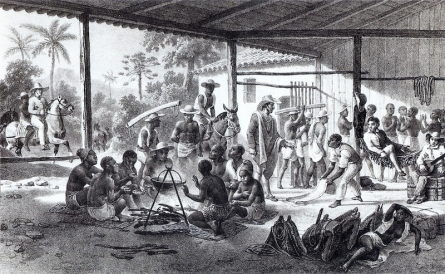 "As slaves escaped from Spanish and Portuguese captors they either joined indigenous peoples or eked out a living on their own. Called Maroons (from the Latin-American Spanish word cimarrón: ""fugitive, runaway""), these African refugees escaped slavery in the South America and formed independent settlements. click on image to view source."