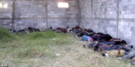 Massacre: The bodies of 72 people, believed to all be migrants, were found at a rural ranch in northern Mexico after the only survivor stumbled into a military checkpoint. The victims were shot by the members of the Zetas cartel known for exploiting vulnerable people. photo: AP