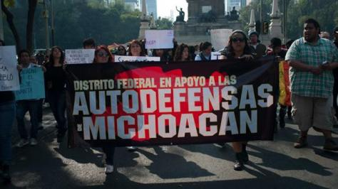 in mexico city, the locals show support for autodefencias in michoacan.