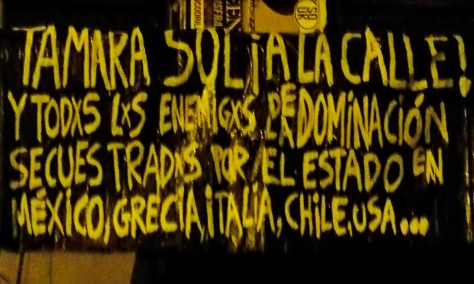 "The banner reads: - ""Tamara Sol ¡To the street! And all the enemies of Domination jailed by State in Mexico, Greece, Italy, Chile, USA…"""