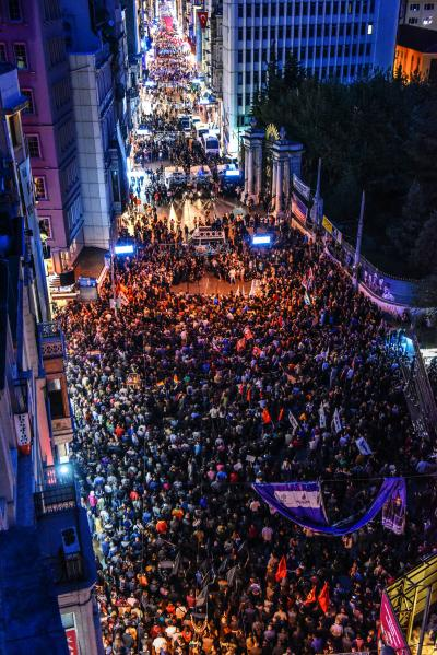 OZAN KOSE/AFP/Getty Images Turkish riot police block Istiklal Avenue as thousands of protesters take part in a march against the deadly attack earlier in Ankara.